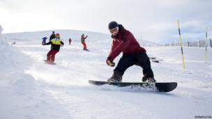 Snowboarders at CairnGorm Mountain