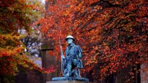 A statue of a soldier from the Great War on a war memorial in Shildon, County Durham