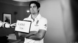 England captain Alastair Cook prepares to have his portrait taken (Photo converted to black and white)