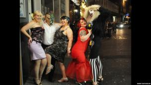 Burlesque performers after their show
