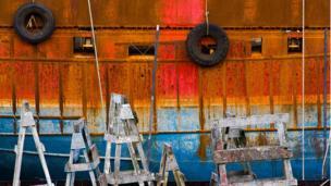 Trawler in a boatyard