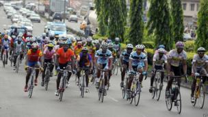 Cyclists in Lagos, Nigeria (13 November 2013)