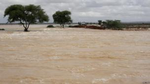 A bridge between Garowe and Eyl that was destroyed by the storm in Somalia's semi-autonomous Puntland region near Bossasso