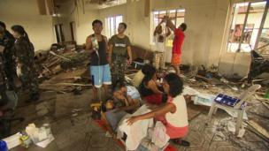 Makeshift maternity ward in Tacloban, a city devastated by Typhoon Haiyan, in Leyte, central Philippines