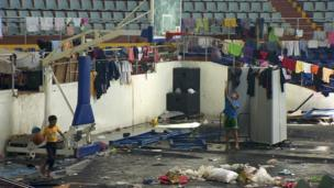 The Astrodome convention centre in Tacloban, a city devastated by Typhoon Haiyan, in Leyte, central Philippines