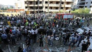 The scene at the Iranian embassy in Beirut