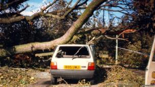 Tree on car after 1987 hurricane