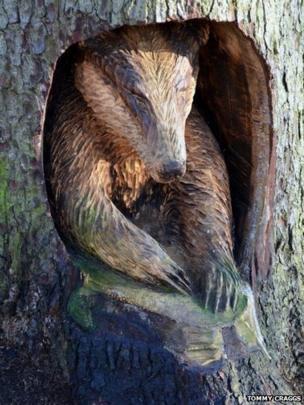 Wooden carved badger
