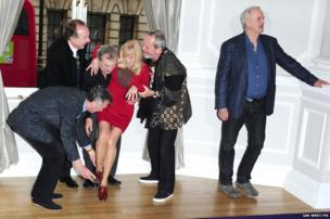 Michael Palin, Eric Idle, Terry Jones, Carol Cleveland, Terry Gilliam and John Cleese announce plans for Monty Python at the Corinthia Hotel in London