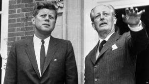 Prime Minister Harold Macmillan (right) with US President John F Kennedy at Birch Grove, Sussex