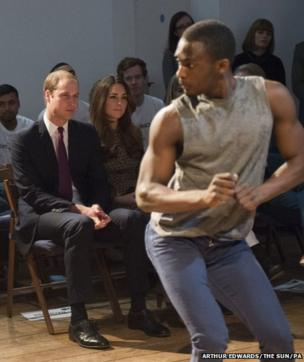 The Duke and Duchess of Cambridge are entertained by dancers during a visit to Only Connect