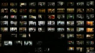 A night-time view of Google's offices in Dublin, Ireland