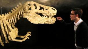 A visitor looks at a Lego Dinosaur Skeleton, which is made out of 80,020 Lego bricks. The T-Rex model is on display at The Art of the Brick exhibition in Belgium.