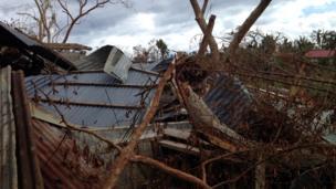 School damaged by typhoon in Cebu Island