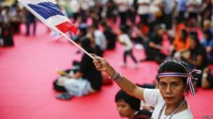 An anti-government protester waves a Thai national flag as she gathers with others inside a government complex in Bangkok, on 28 November 2013