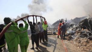 Fire fighters in Mogadishu, Somalia - Thursday 28 November 2013