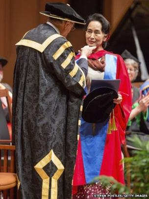 Aung San Suu Kyi receives an honorary doctorate from The Australian National University in Canberra, Australia