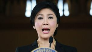 Thai Prime minister Yingluck Shinawatra at a news conference, 28 November