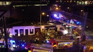 Helicopter crash scene at the Clutha pub