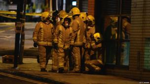 Rescue workers at scene of Glasgow crash