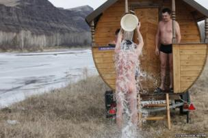 People in Siberia at a mobile bathing station