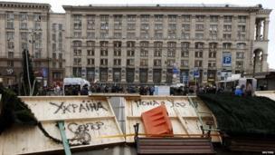 Street is blocked in Kiev 02/12/2013