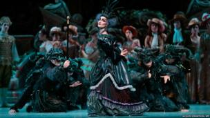 French ballet dancer Nolwenn Daniel takes part in a dress rehearsal of The Sleeping Beauty at the Opera Bastille in Paris
