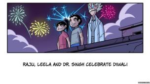 Leela, Chakra and Dr Singh watch fireworks from a rooftop