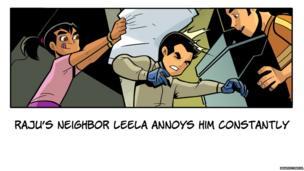 Leela hits Raj over the head