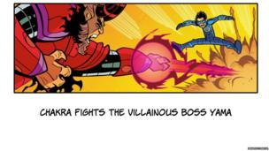 Chakra dodges a fireball coming out of the bad guy's hand