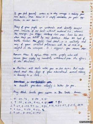 Second side of letter handed to member of the public