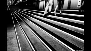 People walking up steps in Jakarta, Indonesia