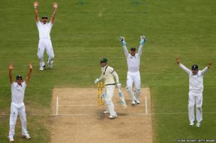 England appeal for the wicket of Michael Clarke of Australia during day one of the Second Ashes Test Match
