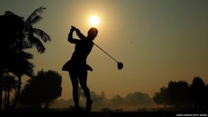 Melodie Bourdy of France plays her tee shot in Dubai