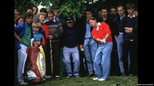 Ian Woosnam plays out of the woods