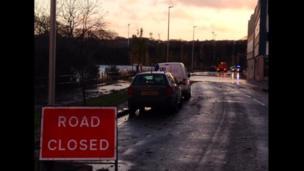 The flooded Riverside Drive in Aberdeen
