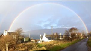 About to leave Milton on Applecross Peninsula when rain came on and this amazing rainbow appeared, says Catherine Shaw.
