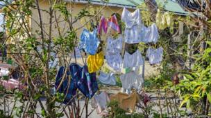 Clothes dry in the sun