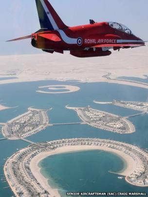 Red Arrows jet flying over Bahrain