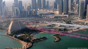 Red Arrows flying over the Sheraton hotel in Doha