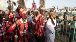 Traditional dancers at a wrestling match in Khartoum, Sudan - Friday 29 November 2013