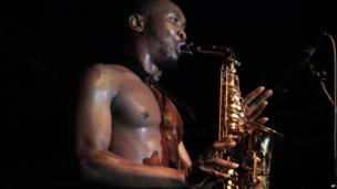Seun Kuti playing a saxophone in Lagos, Nigeria - Friday 29 November 2013