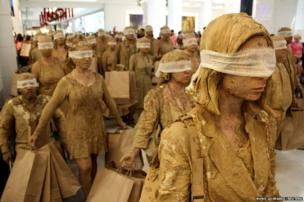 In Brazil students from the School of Communication and Art of the University of Sao Paulo perform a skit titled, Blind Ones