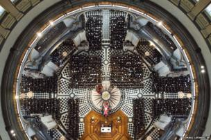 An overhead view of guests attending the funeral of former British Prime Minister Margaret Thatcher at St Paul's Cathedral in London, 17 April 2013
