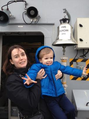 Cath and Alex onboard HMS Duncan