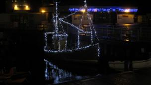 Boat decorated in lights