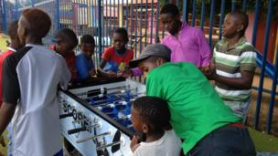 Children in South Africa playing at a youth club