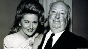 Joan Fontaine and Alfred Hitchcock in 1963