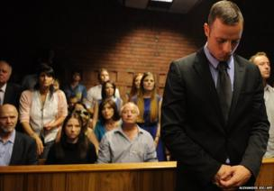 South African Olympic sprinter Oscar Pistorius appears at the Magistrate Court in Pretoria, 21 February 2013