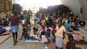 Civilians resting inside the UNMISS compound adjacent to Juba airport
